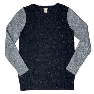New Scotland Black Colorblock Cashmere Sweater Top